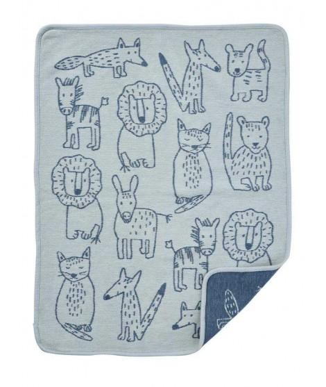 Bavlněná dětská deka chenille Buddies blue 70x90