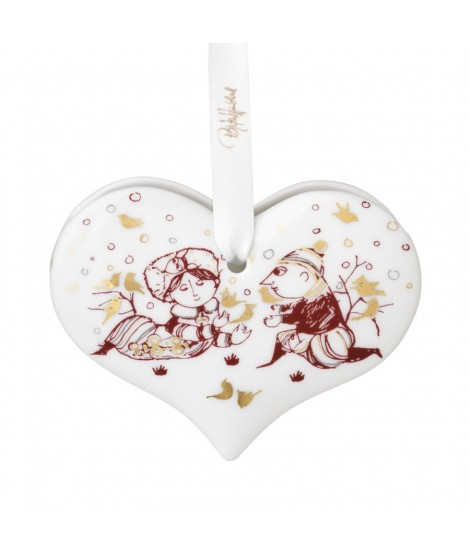 Vánoční dekorace srdce Wiinblad Christmas Heart red H6,5