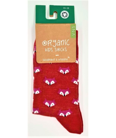VNS Organic kids socks Fox red