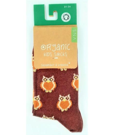 VNS Organic kids socks Owl burgundy