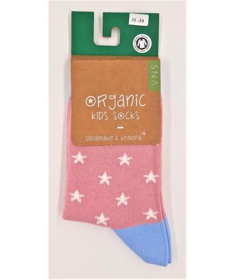 VNS Organic kids socks Star pink