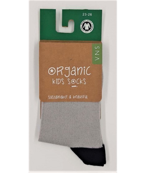 VNS Organic kids socks Plain Grey Black