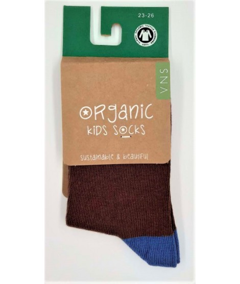 VNS Organic kids socks Plain brown blue
