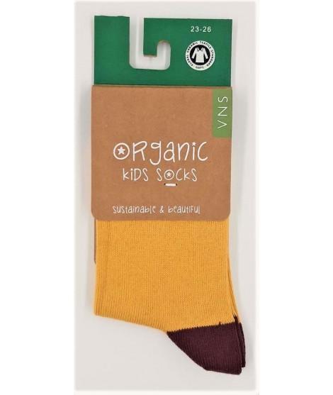 VNS Organic kids socks Plain yellow brown