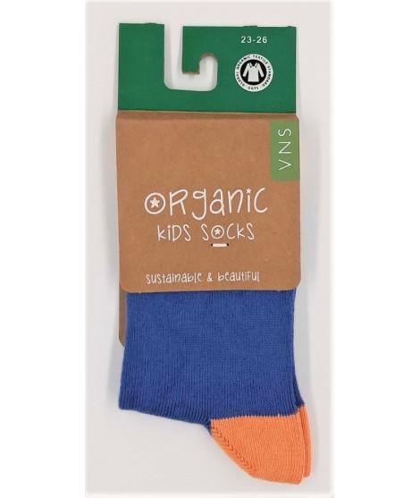 VNS Organic kids socks Plain blue orange