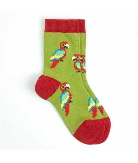 VNS Organic kids socks Green Parrot