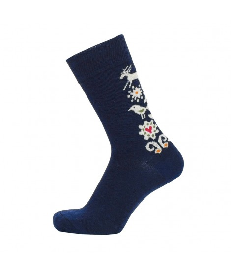 Merino socks Birds blue