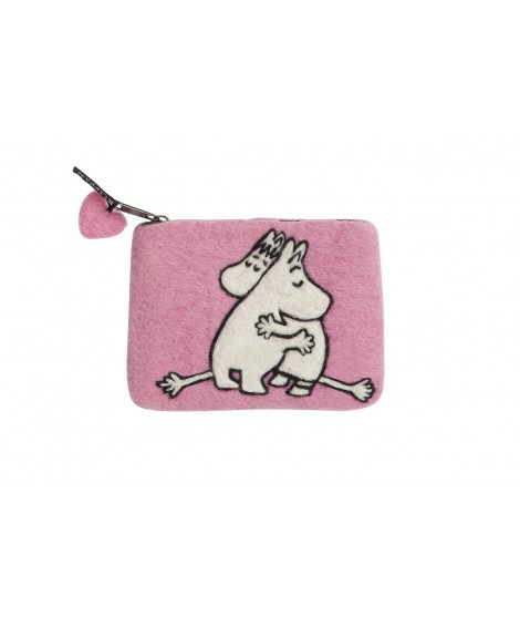 Felted purse Moomin Love pink 14x10