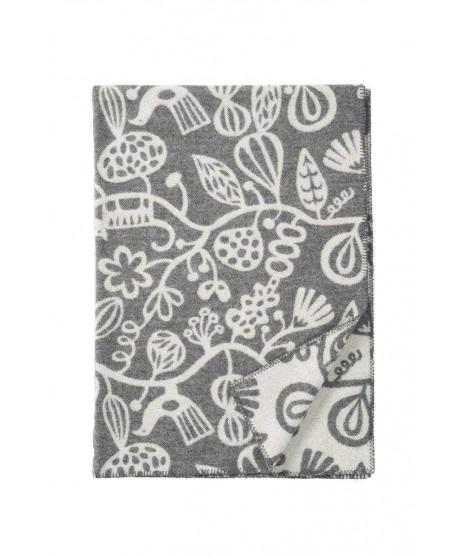 Wool blanket Botanical garden grey 130x180