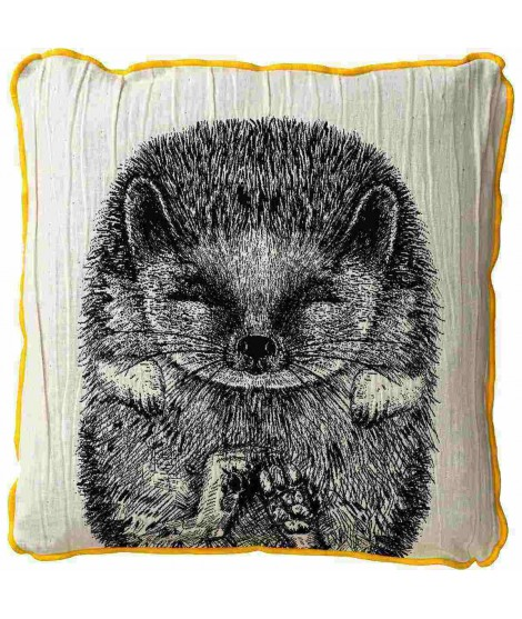 Cushion cover SIILI hedgehog black white 50x50
