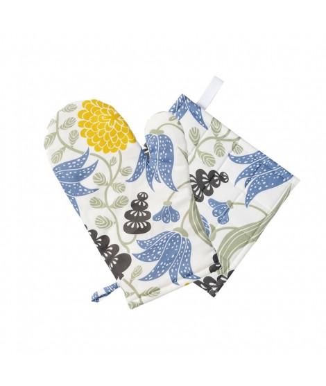 Kuchyňská chňapka rukavice Lily yellow blue 2-set