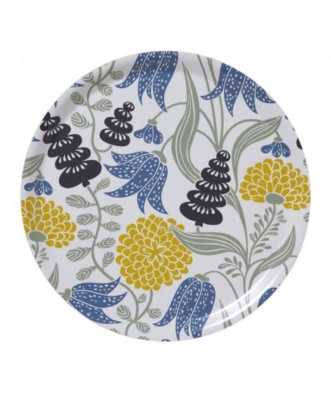 Kulatý servírovací tác Lily yellow blue d38
