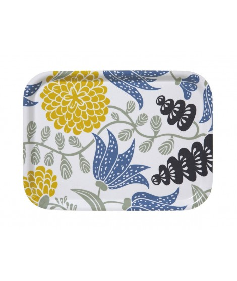 Small square tray Lily yellow blue 27x20