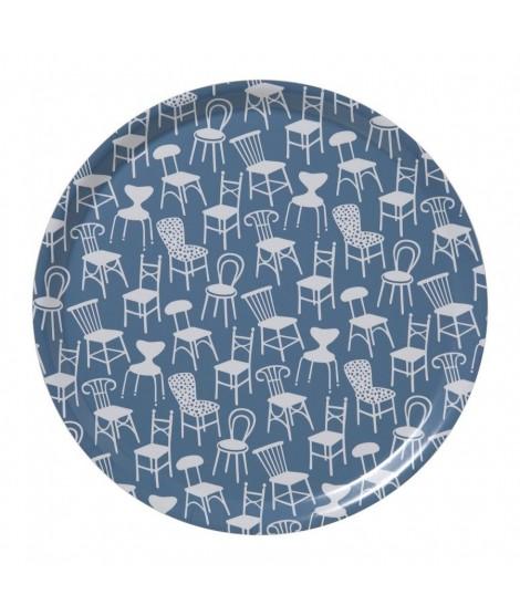 Kulatý servírovací tác Chairs blue d38