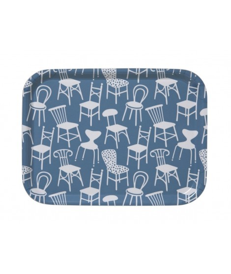 Obdélníkový tác Chairs blue 27x20