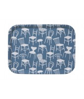 Small square tray Chairs blue 27x20