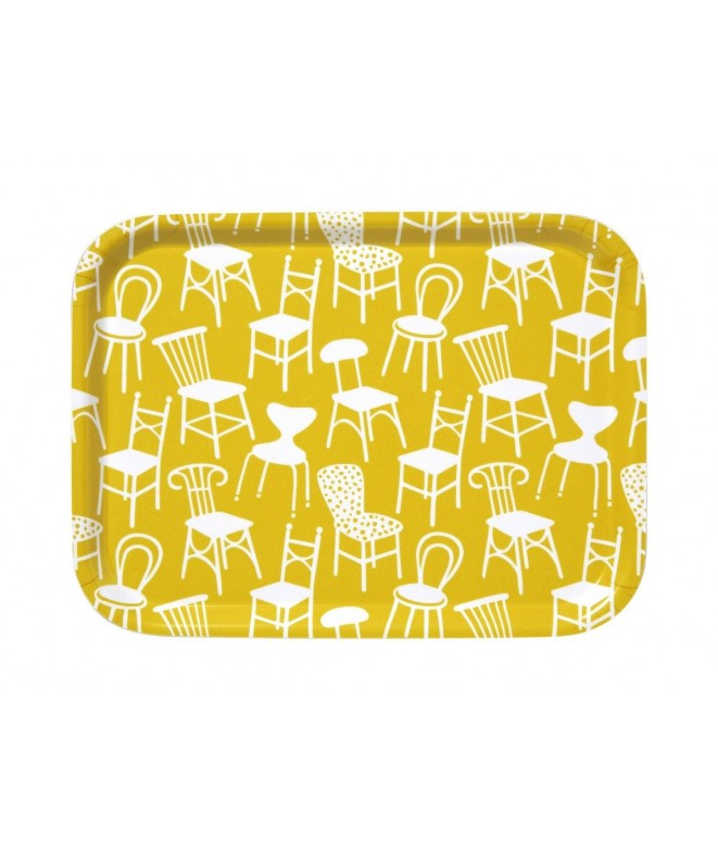Small square tray Chairs yellow 27x20