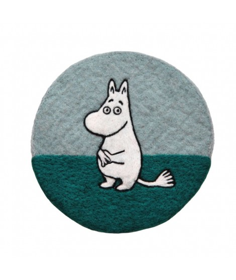 Felted pot mat Moomin blue d20