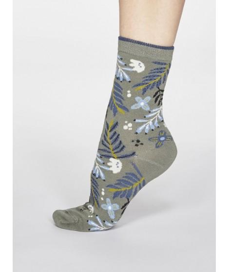 Bambusové ponožky Nelly Floral sage green 37-40