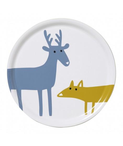 Round tray Elk Fox white d31