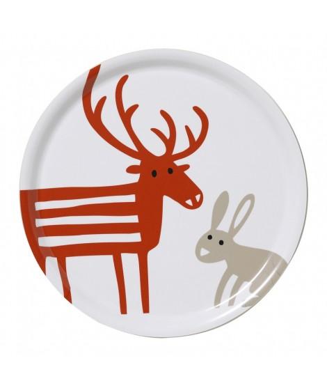 Round tray Reindeer Rabbit white d31
